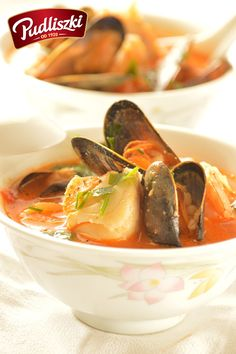 Zupa z owocami morza, mleczkiem kokosowym i pęczakiem. #pudliszki #zupa #przepis #owocemorza