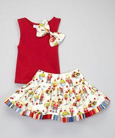 Look at this #zulilyfind! Red Tank & Ice Cream Twirl Skirt - Toddler & Girls by Carolina Kids #zulilyfinds