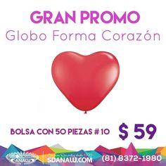 Gran Promo - Bolsa Globo Forma Corazón c/50 $ 59 @sdanalu