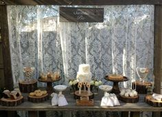 Once Upon A Table E's Bridal/Wedding Shower / Sweetie Pie - Rustic Pie Table at Catch My Party Dessert Table, A Table, Pie Dessert, Rustic Table, Wedding Table, Rustic Wedding, Wedding Pies, Bridal Shower Decorations, Wedding Decorations