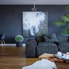sofa. wall color. floors.