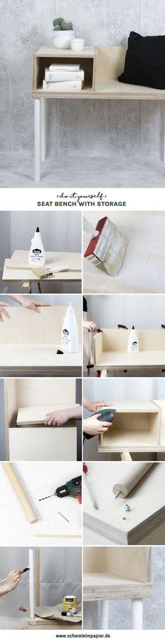 DIY Möbel, Um Sich Selbst Zu Bauen: Machen Sie Bank Aus Sperrholz Mit  Lagerung Selbst