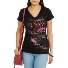 Women's Language of Love Valentine's Day Graphic T-Shirt, Size: Medium, Black