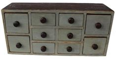 """19th century Lancaster Pennsylvania 10 drawer apothecary chest, circa 1850 with the original gray paint, 25 1/2"""" W x 12"""" Tall x 8 1/2"""" Deep"""
