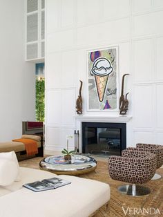 Classic and Contemporary - Painting by Donald Baechler. African 17th-c. sculptures. Antique Oushak rug.