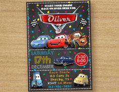 Cars Birthday Invite Disney Cars Invitation by DinoParty on Etsy Disney Cars Party, Disney Cars Birthday, Cars Birthday Parties, 3rd Birthday, Car Party, Cars Birthday Invitations, Disney Invitations, Digital Invitations, Lightening Mcqueen