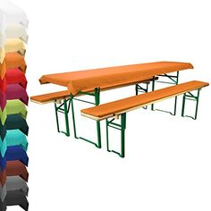 Trestle Beer Table Slipcover - Matching Tablecloth Set With Padded Seat Covers - For 70cm wide Table top - Orange