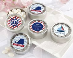 Personalized Round Candy Tin - Nautical Birthday Collection (Set of 12)