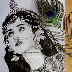 ASTHA🌟 (@singhasthaa) • Instagram photos and videos Radha Krishna Sketch, Krishna Drawing, Krishna Painting, Krishna Art, Girl Drawing Sketches, Portrait Sketches, Art Drawings Sketches Simple, Portrait Art, Pencil Drawing Images