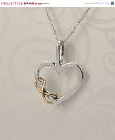 Mothers Day Sale Heart Pendant - Two Toned Pendant - Infinity Pendant - Infinity Jewelry - Argentium Sterling Silver - Bridesmaid Jewelry on Etsy, $35.96