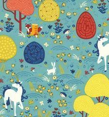 Magical Unicorns Teal Fabric
