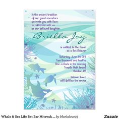 Whale & Sea Life Bat Bar Mitzvah Invitation