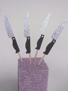 8 Scream Queen Pink Knives Kill Knife Cupcake Toppers Sorority Party Food Picks #birthday