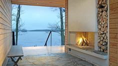 l photo: Hans Koistinen l Fireplace Pictures, House By The Sea, Architectural Elements, Dream Rooms, Helsinki, Rustic Design, Modern Rustic, Cottage, Backyard