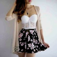 Skirt outfits for teens casual cardigans 60 ideas Fall Outfits For Teen Girls, Cute Summer Outfits, Cute Casual Outfits, Party Outfits Tumblr, Teen Party Outfits, Winter Fashion Outfits, Look Fashion, Teen Fashion, Swag Fashion
