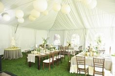 Cream Green and Taupe Tent Reception Decor Ideas | photography by http://rebekahwestover.blogspot.com/