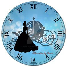 Cinderella Clock by SilhouettesbyMarie on DeviantArt Cinderella Cartoon, Cinderella Carriage, Cinderella Birthday, Cinderella Disney, Cinderella Shoes, Cinderella Princess, Disney Lamp, Disney Clock, Disney Images