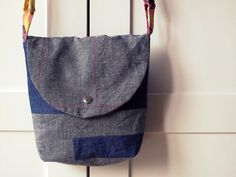 Cross body messenger bag small, gray linen and denim.