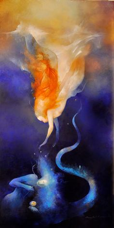 """As if you were on fire from within. The moon lives in the lining of your skin."" Pablo Neruda - Art by Anne Bachelier"