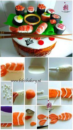 sushi Sushi Cupcakes, Sushi Cake, Cake Decorating For Beginners, Cake Decorating Tutorials, Fondant Cakes, Cupcake Cakes, Candy Sushi, Japanese Cake, Cake Pictures