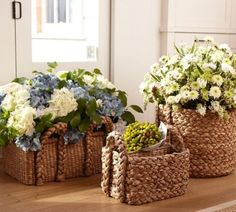 can sit your pots  of plants into baskets, how nice