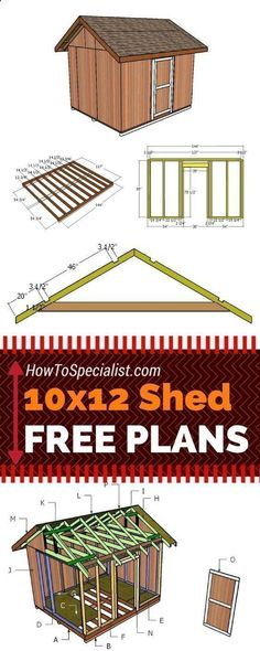 Learn how to build a 10x12 shed with my free and step by step plans! Just follow the free 10x12 shed plans if you want to build a garden storage shed with minimum effort and costs! howtospecialist.com #diy #shed #howtobuildagardenshed #diystorageshedplans #gardensheds #diyshedplans #diysheds