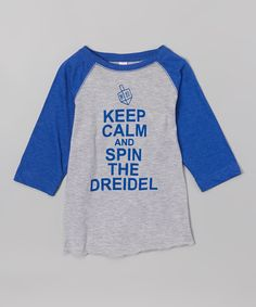 Gray & Royal Blue 'Spin the Dreidel' Tee - Toddler & Kids