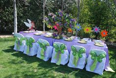 Sweet Garden Party Decor Ideas with White and Floral Themed Dining . Garden Party Decorations, Flower Decorations, Table Decorations, White Dining Table, Dining Table Chairs, Fairy Birthday Party, Birthday Parties, Butterfly Chair, Own Home