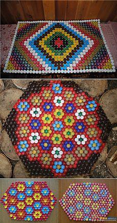 ARTESANATO COM TAMPA DE REFRIGERANTE - Массажный коврик из крышек от пластиковых бутылок.