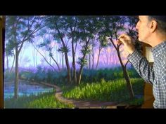 ▶ How To Paint Fog In The Forest At Sunset Using Acrylics Complete Lesson Art Class Video - YouTube