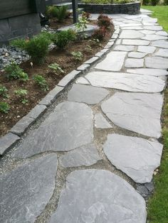 Outdoor Walkway, Flagstone Patio, Garden Edging, Garden Paths, Landscaping A Slope, Garden Stepping Stones, Garden Images, Garden Landscape Design, Backyard Projects