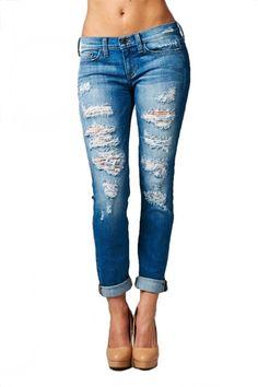 Off Duty Distressed Boyfriend Jeans - Medium Denim