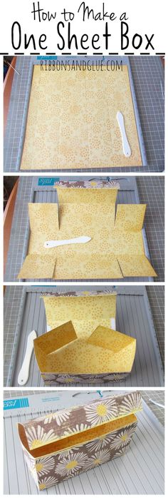 DIY box: Easy Box Tutorial made out of one sheet of 12 x 12 Scrapbook Paper. This perfect size treat box can easily hold a small gifts or homemade treats. Printable step by step instructions included too. Papier Diy, Envelope Punch Board, Cookie Box, Paper Folding, Diy Box, Diy With Boxes, Small Gifts, Small Gift Boxes, Making Gift Boxes