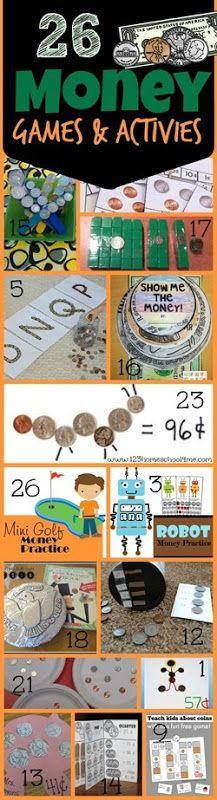 26 Money Games and Activities to teach Preschool, Kindergarten, 1st grade, 2nd grade and 3rd grade math  (coins, math games, learning about money, homeschool)