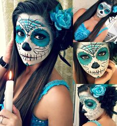Sugar skull Halloween Makeup is the best look for this occasion. Visage Halloween, Halloween Makeup Sugar Skull, Sugar Skull Makeup, Halloween Skull, Scary Halloween, Sugar Skull Costume, Costume Halloween, Pretty Halloween, Halloween 2013