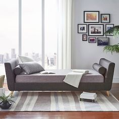 Add contemporary style and amazing versatility to any room in your home with the iNSPIRE Q Cadley Daybed. With an upholstered linen foam-cushioned frame, 2 bolster pillows, and tapered angled legs, this comfortable piece serves as both bed and sofa. Luxury Homes Interior, Luxury Home Decor, Modern Interior, Interior Design, Full Daybed With Trundle, Daybed Bedding, Modern Daybed, Find Furniture, Bed Sizes