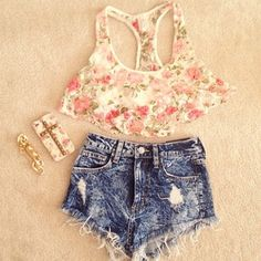 Floral Crop Top with High Waisted Shorts