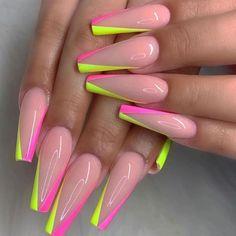 Summer Acrylic Nails, Best Acrylic Nails, Acrylic Nail Designs, Nail Art Designs, Long Nail Designs, Pastel Nails, Nails Design, Summer Nails, Glow Nails