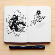 Break the ice. Ink Drawings Mostly in Space. Click the image, for more art by Mon Lee. Space Drawings, Pencil Art Drawings, Art Drawings Sketches, Ink Illustrations, Easy Drawings, Doodle Design, Doodle Art, Astronaut Drawing, Rocket Drawing