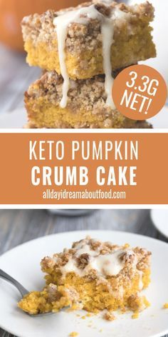 """Keto Pumpkin Crumb Cake Pumpkin Crumb Cake is the ultimate keto fall dessert recipe. Tender low carb cake with pumpkin and spice, and a delicious brown """"sugar"""" crumb topping. The perfect keto coffee cake recipe! Low Carb Cake, Keto Cake, Low Carb Sweets, Keto Cheesecake, Low Carb Desserts, Vegan Cake, Healthy Low Carb Recipes, Ketogenic Recipes, Keto Recipes"""