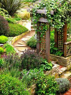Pomysł na wejście do ogrodu- drewniana pergola porośnięta bluszczem i skalniaki