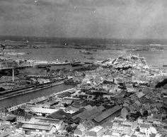 Gare Maritime de Cherbourg : bombardement de 1944 - Vue depuis le Fort du Roule.