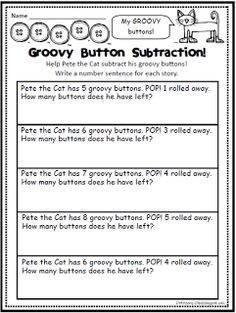 Pete the Cat activities: FREE Pete the Cat-themed button math worksheet. Perfect for Pete the Cat's Groovy Buttons.