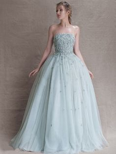 Ball Gown Top Light Sky Blue Tulle Appliques Lace Strapless Prom Dresses - pickedresses.com