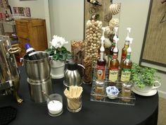 coffee bar display ideas - Google Search Bar Displays, Display Ideas, Office Coffee Station, Bar Set Up, Coffee Service, Employee Appreciation, Event Ideas, Coffee Shop, Table Settings