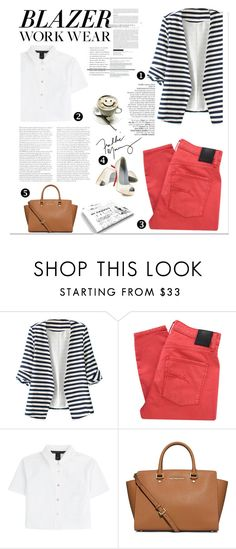 """Work Wear: Blazer stripes"" by nicole77af ❤ liked on Polyvore featuring Avenue, Nobody Denim, Marc by Marc Jacobs, Christian Louboutin and MICHAEL Michael Kors"