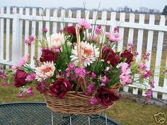 Mothers Day Silk Flowers Grave Cemetery Tombstone Saddle Basket Burgundy Roses