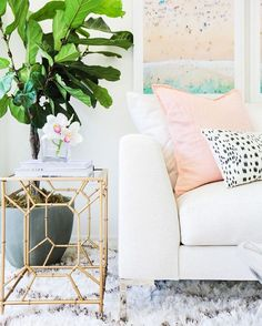 """Lulu & Georgia on Instagram: """"Dear @marianna_hewitt your living room is what our dreams are made of. All the  for you and @amberlancaster007    #landgathome of our Mayalle Rug and Sage Pillow in Peachy Pink"""""""