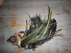 Shawna's DIY. Feather/button hair clip.