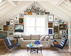 This is such a cool way to decorate an attic wall like this! Looks so cozy and stylish.